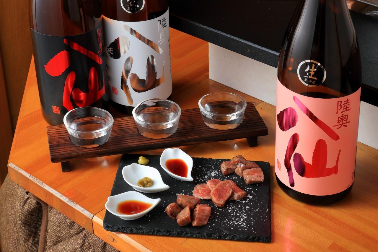 Grilled Kuraishi beef (3 parts) tasting set, local sake Hassen tasting set (3 selections)